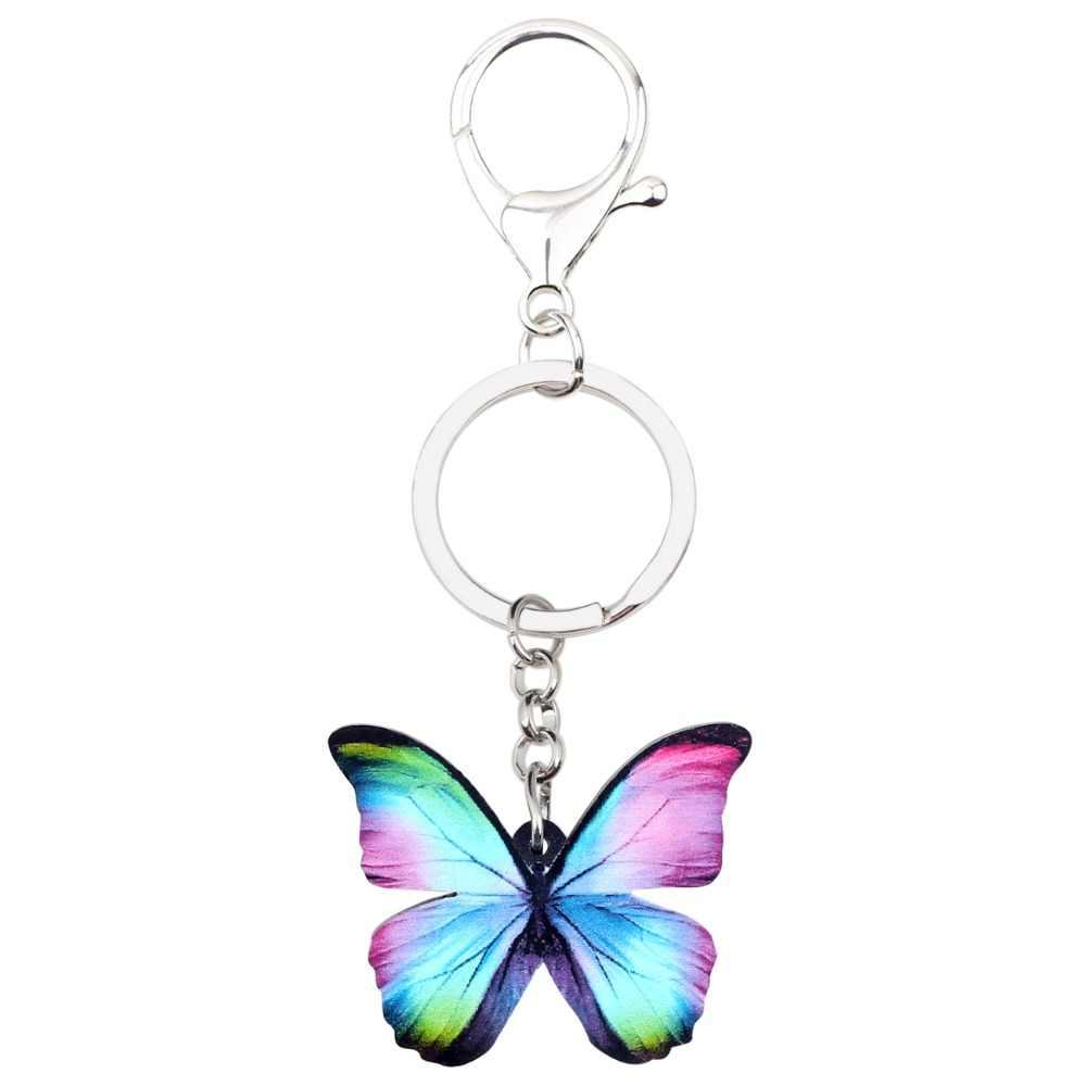 Bonsny Acryl Bunte Blau Schmetterling Schlüssel Ketten Schlüsselanhänger Ringe Modeschmuck Für Frauen Mädchen Handtasche Auto Geldbörse Insekten Charme