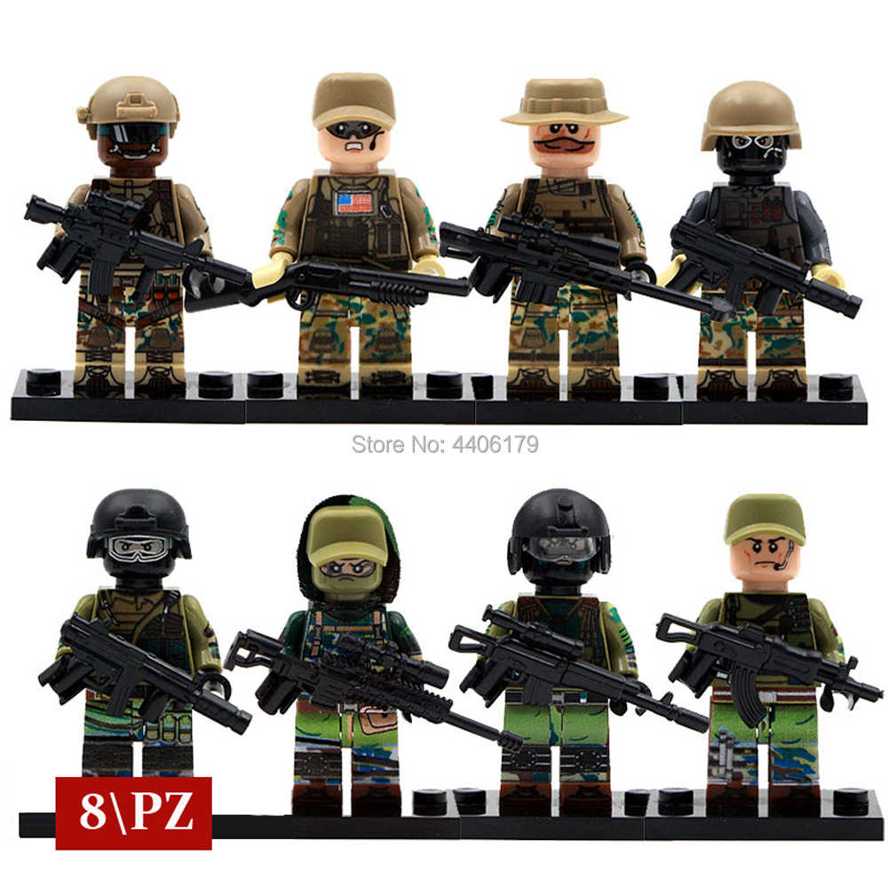 compatible LegoINGlys military WW2 war Russia Special forces with US army Building Blocks mini soldier figures brick toys gift