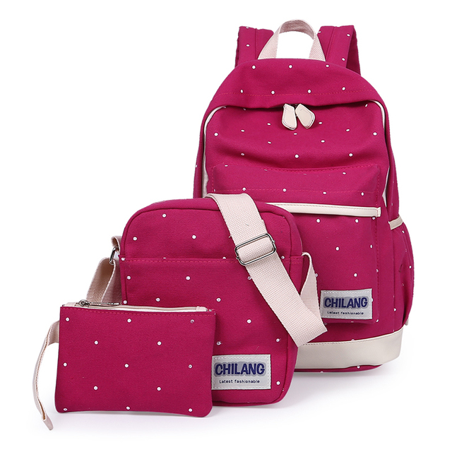 3Pcs/Sets Korean Casual Women Backpacks Canvas Book Bags Preppy Style School Back Bags for Teenage Girls Composite Bag 5
