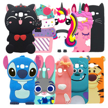 For Samsung J3 Phone Cases Cute 3D Cat Back Soft Silicone Case Galaxy 2016 J320 Cartoon Cover 2015