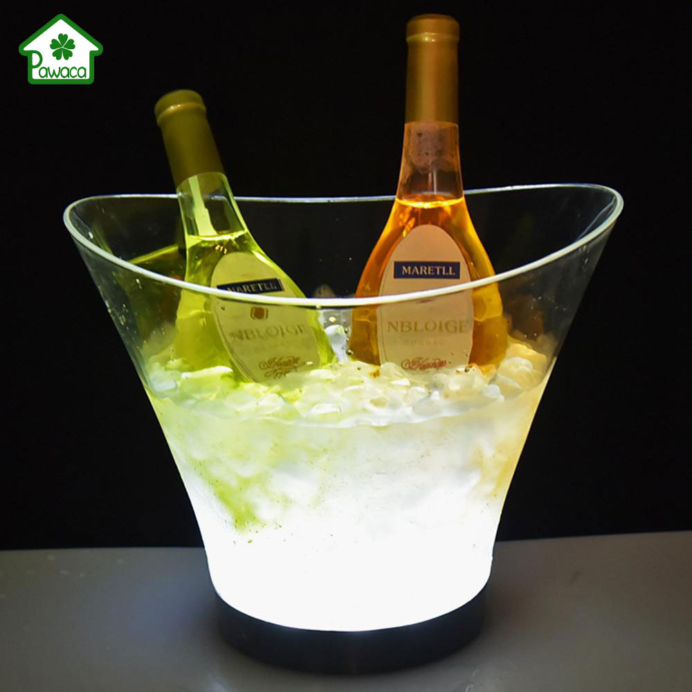 New 6L Glowing Ice Bucket LED Multicolor Champagne Wine Beer Drinks Cooling Container Summer Kitchen Bar Party Wine Cooler Tool image