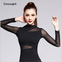 Black Persepctive Gauze Long Sleeve Sexy Latin Dance Top For Women Female New Fashion Ballroom Costume
