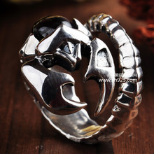 2016 New Top Fashion Bands Classic Anillos Sapphire Jewelry 925 Sterling Jewelry Scorpio The Scorpion King Agate Rings Man Ring