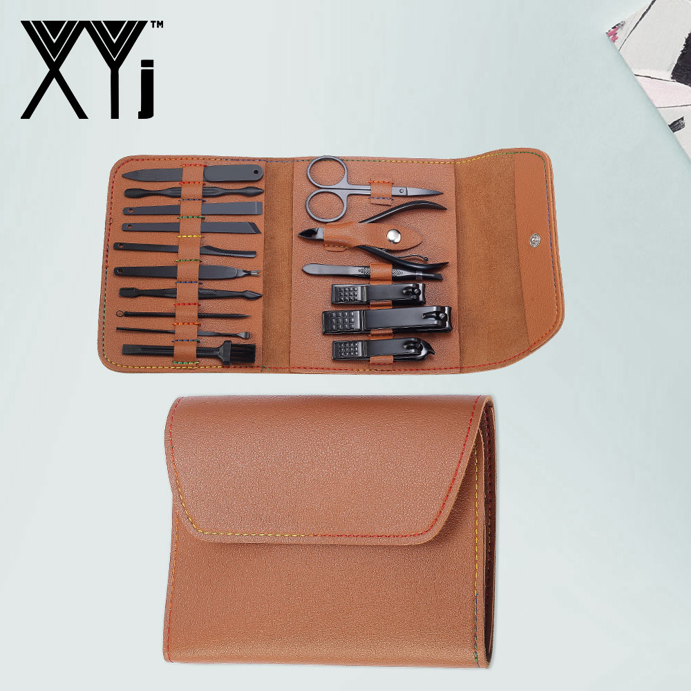 XYj Black Manicure Set Nail Clippers Set 16PCS/Set Nail Art Tools Stainless Steel Nail Clipper Kit Art Beauty Tool Set with Case