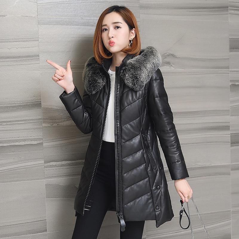 Genuine sheepskin leather coat women winter thick warm leather jacket female natural fox fur hood fashion design NPI 80106A