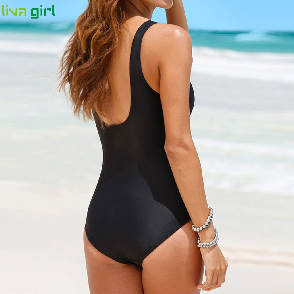 Liva girl Sexy Black One-Piece Suits new 2019 Push-Up Padded Brazilian Swimsuit hot Set Beach Monokini Bathing Swimwear Bikini 1