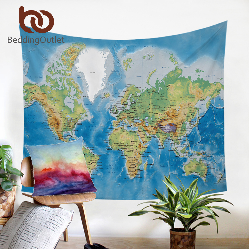 BeddingOutlet Tapestry Blue Printed Wall Hanging Twin Size Carpet Home Decor Wall Tapestry World Map Polyester Sheet Hot 200cm 1