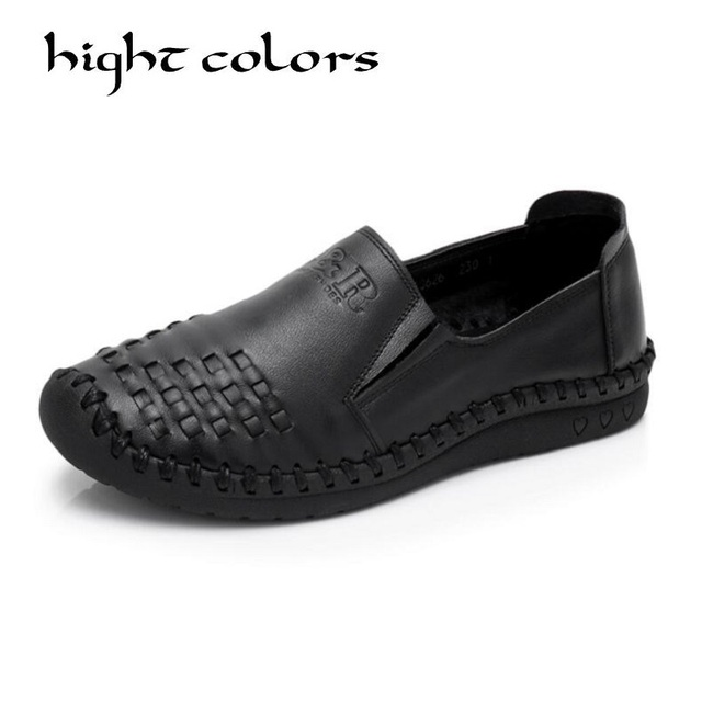 Retro Women Shoes & Flats Woman Genuine Leather Shoes Fashion Hand-sewn Women Loafers Female Casual Shoes Women Flats Size 40 43