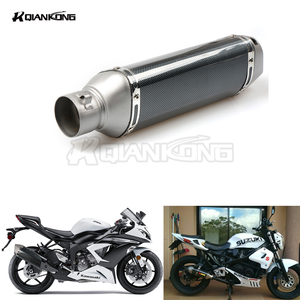 36-51mm Universal Motorcycle Exhaust Muffler Pipe  Exhaust With DB Killer For Honda CBR1000RR CBR 1000 RR 1000RR Hornet 600 900 inlet 51mm motorcycle universal exhaust muffler pipe with db killer for akrapovic large displacement steel carbon aluminum