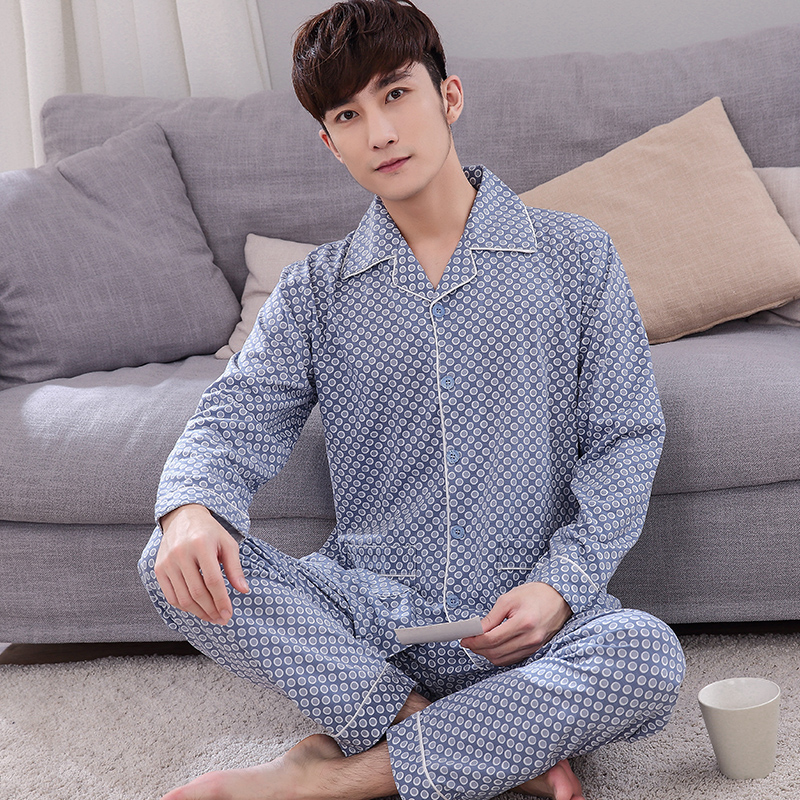 New Men Pajamas Set Autumn Long Sleeve Casual Tracksuit Sleepshirt + Pants 2pc Pyjamas Male Plus Size L- 4XL Pijamas Hombre