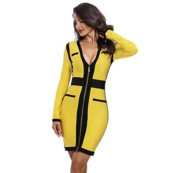 Vestido amarillo blanco y negro