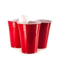 50 개/대 450ml 빨간색 일회용 플라스틱 컵 파티 컵 바 레스토랑 용품 가정 용품 높은 품질