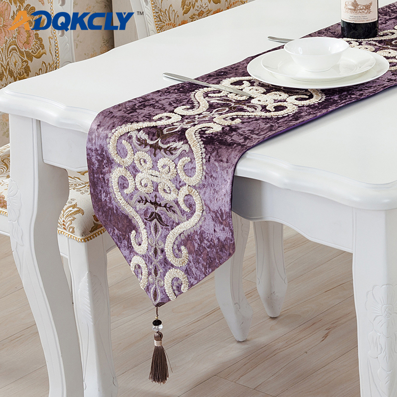 US $15.0 40% OFF|ADQKCLY Luxury Dining Room Table Runner Flannel  Embroidered Home Decor Table Flag for Party Wedding Home Textile Table  Runners-in ...