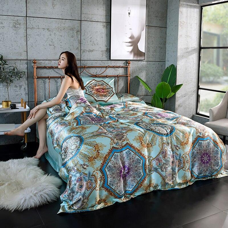 Ropa de cama de seda 100% pura de satén de lujo juegos de edredón y sábana plana y funda de almohada 4 piezas Queen King size juego de lino 19 Momme