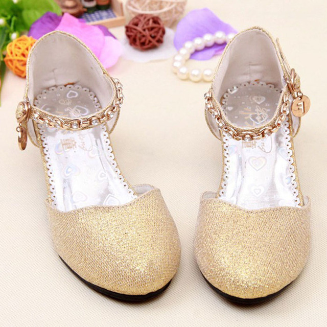 2017 Children Glitter Sandals Kids S Wedding Shoes High Heels Princess Dress Party Gold