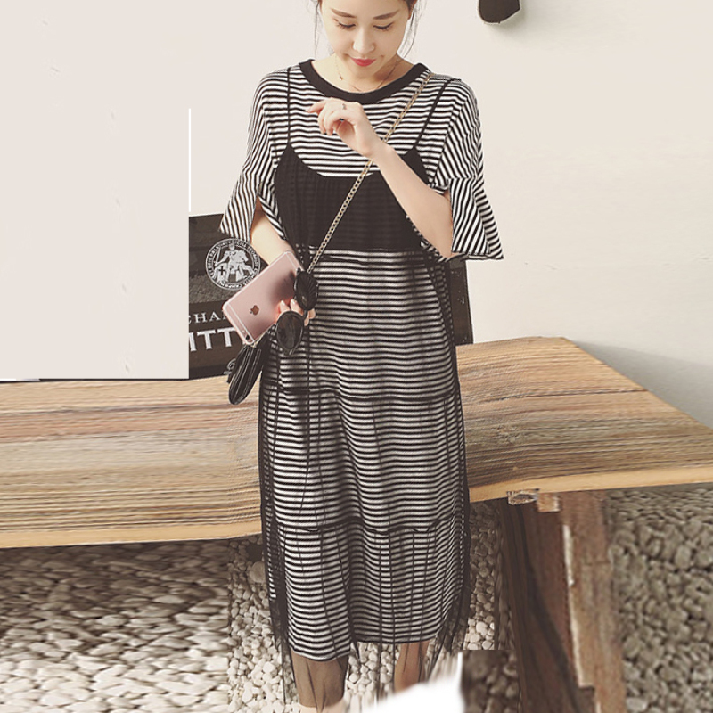 aac89f3e31 Maternity Dresses Suit Striped T Shirt Dress + See Through Lace Slip Dress  Fashion 2 Two Piece Set for Pregnant Women Clothing-in Dresses from Mother    Kids ...