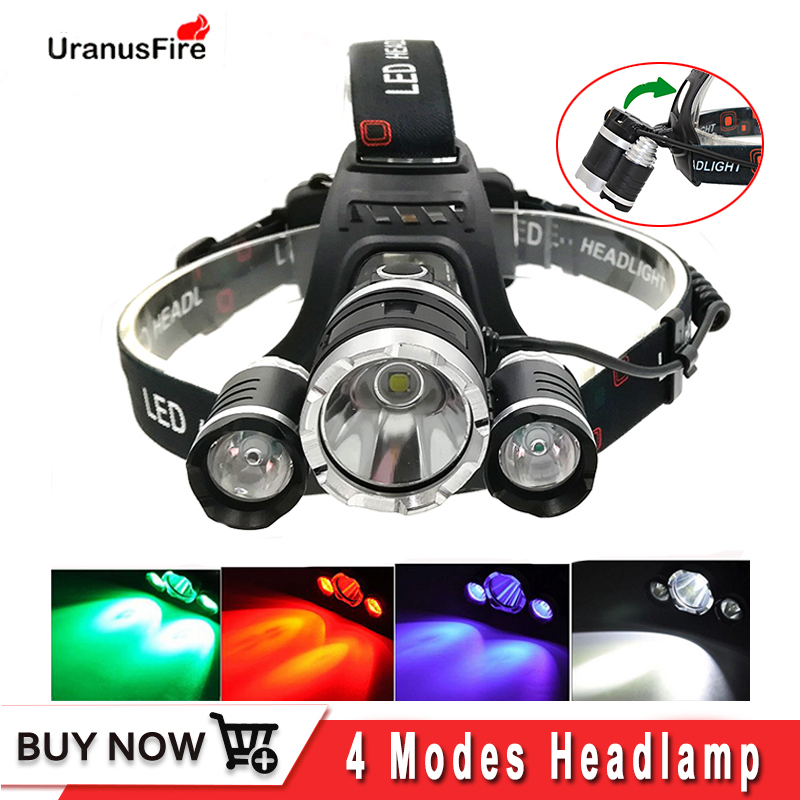 Uranusfire 3*T6 XPE LED Headlamp Headlight 2000lm Head Lamp Frontal Flashlight Torch 18650 Battery Red,green,uv LED Head Light