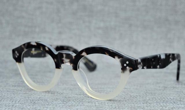 LKK Vintage Myopia eyeglass frame traditional thick frame hand-rivet round eyeglass men women frame glasses