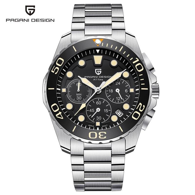 PAGANI CONCEPTION Marque Montre Hommes Chronographe À Quartz Montre-Bracelet En Acier Plein Imperméable de Sport Mens Montres Hommes Horloge reloj hombre