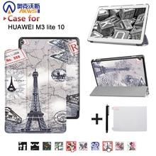 """M3 inteligente ultra cubierta del caso del soporte para 2017 Huawei MediaPad Lite 10 """"tableta para BAH-W09 BAH-AL00 10"""" tablet + free"""