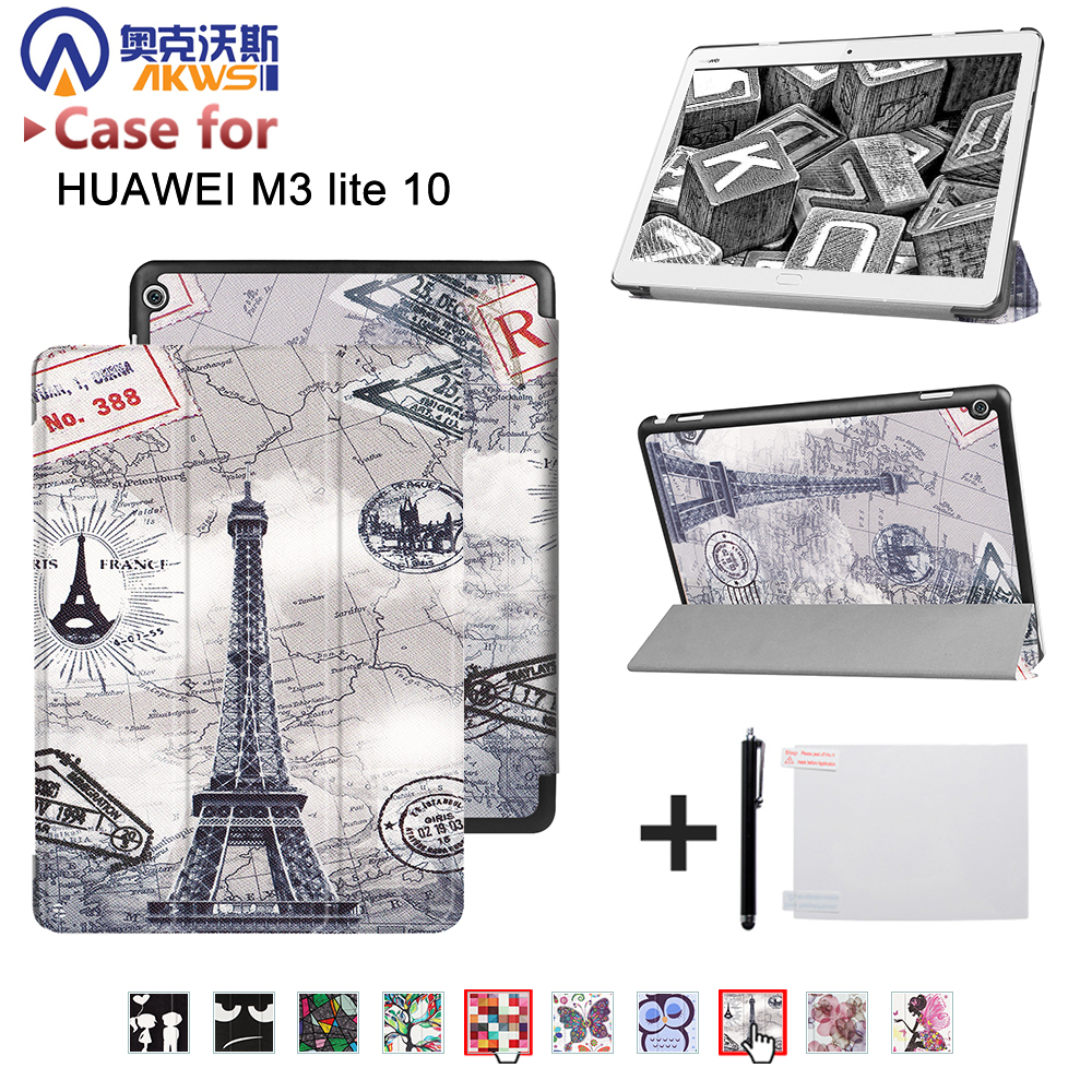 Smart ultra stand cover case for 2017 Huawei MediaPad M3 Lite 10 tablet for BAH-W09 BAH-AL00 10 tablet+free gift