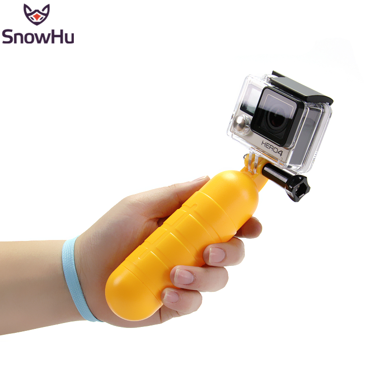 SnowHu Arrival Yellow Water Floating Hand Grip Handle Mount Float Accessory for Gopro Hero 5 4 3+ For XIAOMI for YI 4K EKEN GP82 bz81 universal floating grip handle mount accessory for gopro hero 4 2 3 3 yellow