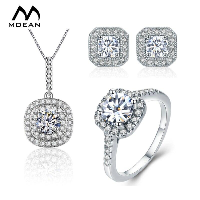 ᗗMDEAN oro blanco de Color boda joyería conjuntos AAA Zircon bague ...