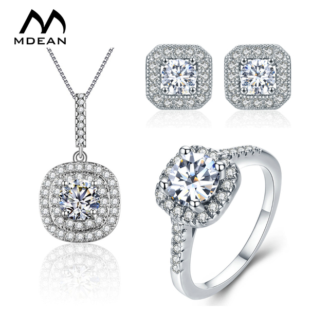 MDEAN white Gold  Color Wedding Jewelry Sets AAA Zircon bague Engagement vintage Ring+Earring + Pendant fashion Accessories