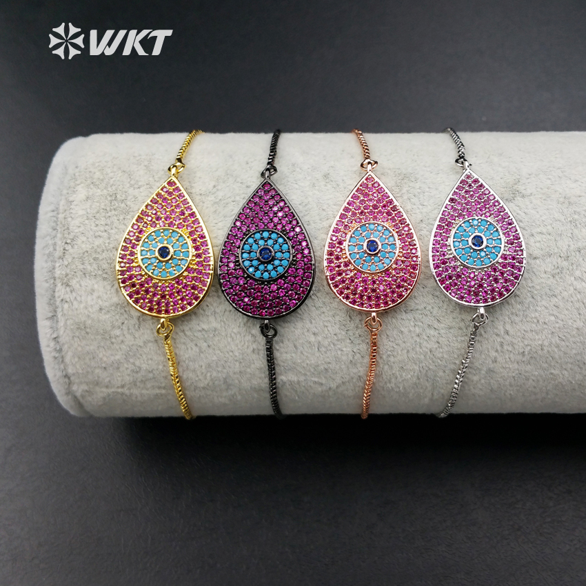 WT-MB008 Wholesale Custom Cubic Zircon Pated Evil Eyes Connector Water Drop Bracelet With Blsck Gun Plated Adjustable Size