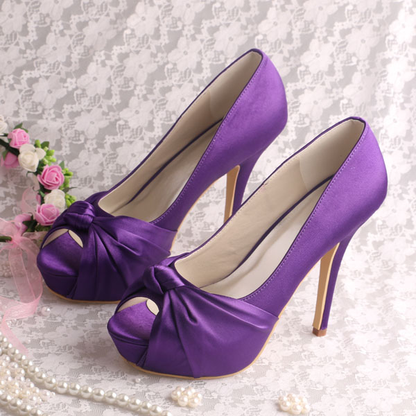 (20 Colors)Custom Handmade Purple Platform Shoes High Heel Bridesmaid Pumps Open Toe