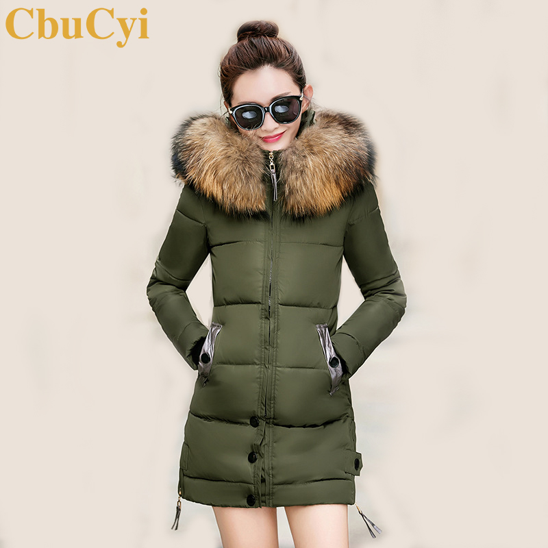CbuCyi Plus Size Faux Fur Collar Overcoat Women Long Parkas Coat Hooded Slim Casual Jacket Female Zippers Outwear Padded Coats