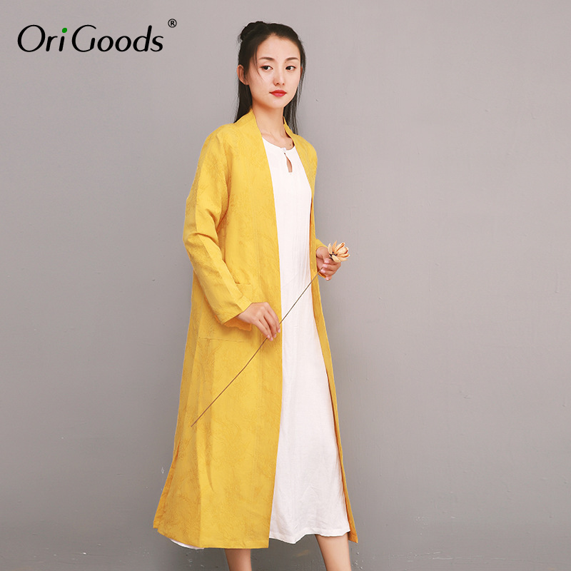 OriGoods style chinois longue Blouse femmes lin soie Vintage longue chemise femmes 2019 été nouveau Long Kimono Blouse haut Blouse F041