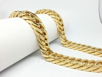 15.21mm Mens Boys Trendy Jewelry 316L Stainless Steel Byzantine Figaro Necklace Chain Gold Filled Men Round Chains Necklaces