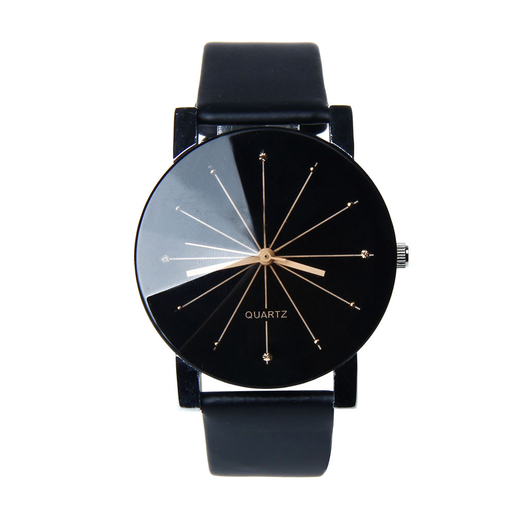 Unisex NEW Mens Watches Clock Women's PU Leather Big Dial Black Watch Men Top Brand Luxury Stainless Steel Wrist Watch Mar28