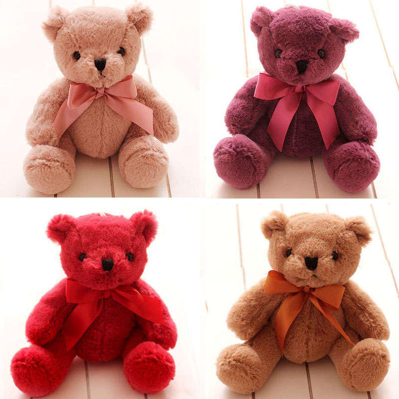20cm Mini Teddy Bear Stuffed Plush Toys Cute Animals With Bowknot Bear Doll Baby Appease Toy Children's Gifts Seven Colors cute simulation fox plush toys kids appease doll gifts