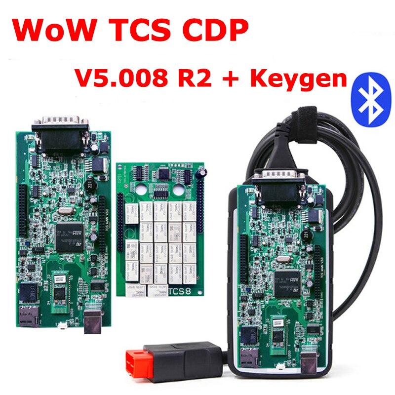 3 шт./лот WOW <font><b>Bluetooth</b></font> V5.008 R2 с Keygen OBD2 инструмент диагностики лучше, чем TCS CDP PRO компанией DHL Бесплатная доставка