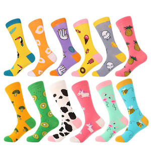 Image 2 - MYORED 12pairs/Lot Casual Men Socks Plaid Colorful fruit cartoon animal dot stripes happy Business Party Dress Cotton Socks Man