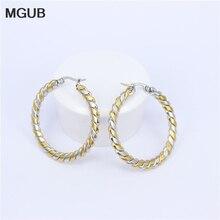 MGUB Big Earrings New Trendy  Gold color Hoop Earrings Jewelry Wholesale Round Large Size Hoop Earrings For Women LHEH72