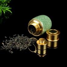 Фотография Tea Caddy Box Porcelain Sealed Cans Of Food Dried Fruit Metal Cover Longquan Celadon Kung Fu Tea Accessories