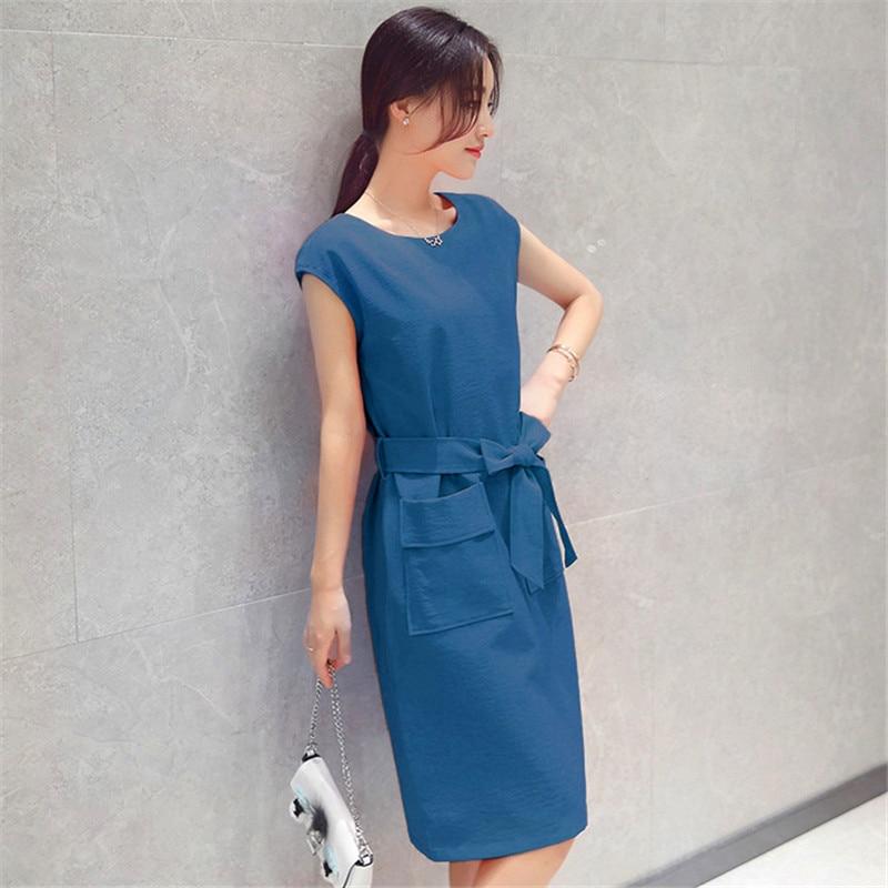 Office Lady Dress Plus Size Short Sleeve Mini Dresses 2018 Summer Korean New Adjustable Waist Bow Pockets Pullover Vestidos LD58 in Dresses from Women 39 s Clothing