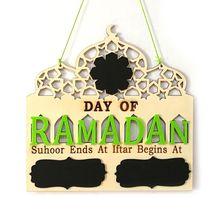 1 Juego de pizarra de mensaje con colgante de madera para adviento de EID Mubarak con cuenta atrás para el Ramadán islámico DIY, decoraciones artesanales para fiestas