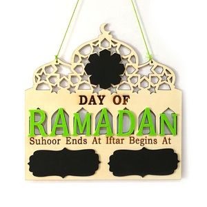 Image 1 - 1 conjunto islam ramadan contagem regressiva para eid mubarak advento de madeira pendurado placa mensagem casa diy decorações artesanato festa suprimentos