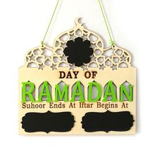 1Set Islam Ramadan Countdown To EID Mubarak Advent Wooden Hanging Message Board Home DIY Decorations Crafts Party Supplies