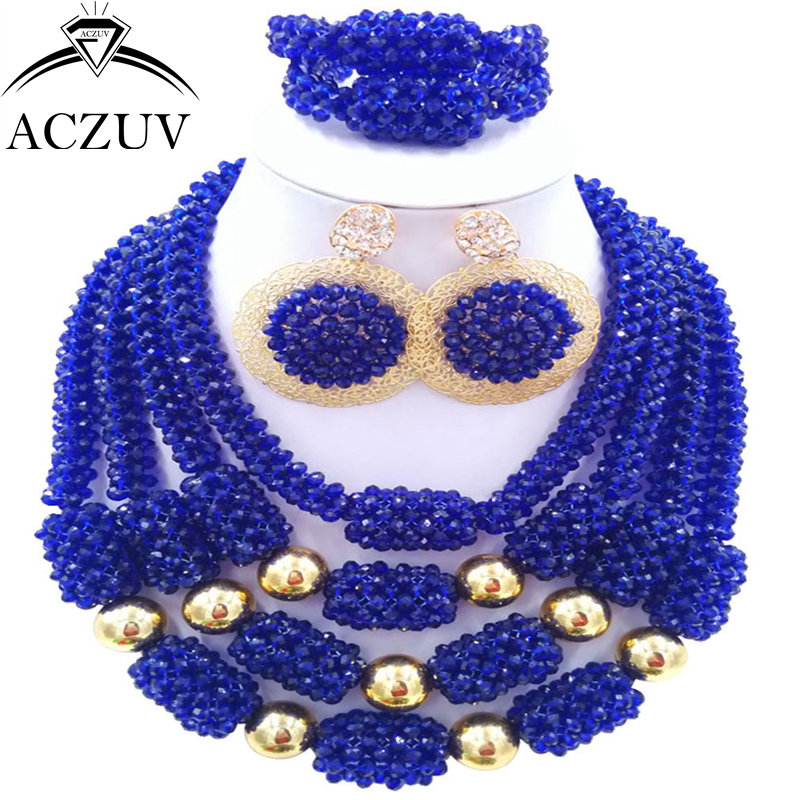 ACZUV Latest Wedding Accessories Bride Jewelry Set Royal Blue Crystal African Beads Nigerian Necklace D4R019 стоимость