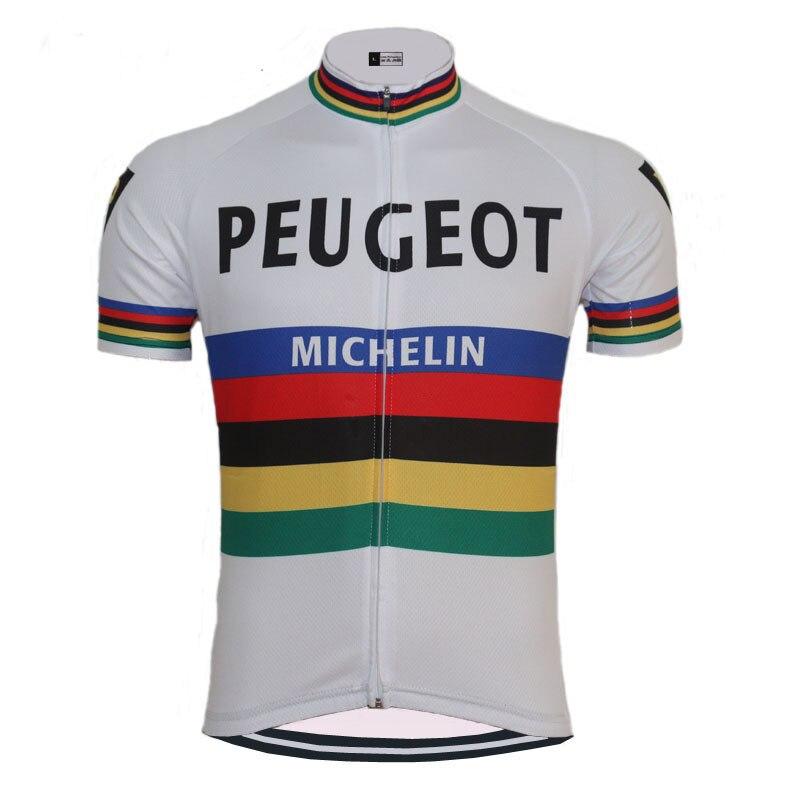 Clásico Blanco Peugeot ciclismo Jersey ropa ciclismo hombres manga corta ropa de ciclo al aire libre deportes Triathlon al por mayor