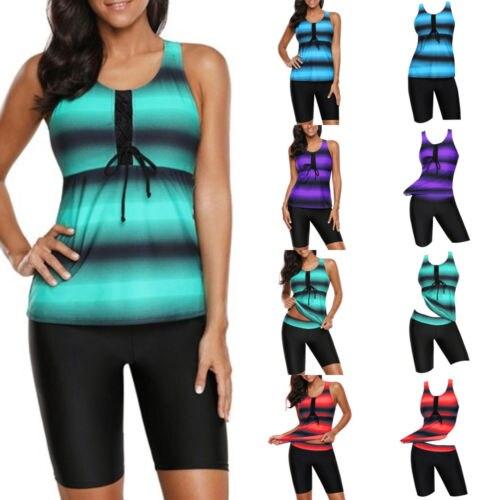 Women Ladies Plus Size Two Piece Bikini Tankini Tops And Shorts Swimming Suits New Summer Beach Dress M-4XL