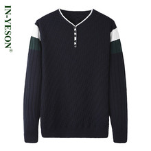 New Sweater Men Original Brand IN-YESON High Quality Autumn Winter Pullover masculino Knitted Clothing Plaid Straight Sweater