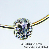 Fits Pandora Bracelets Openwork Fleur De Lis Beads 925 Sterling Silver Clear Cz Charm Beads For