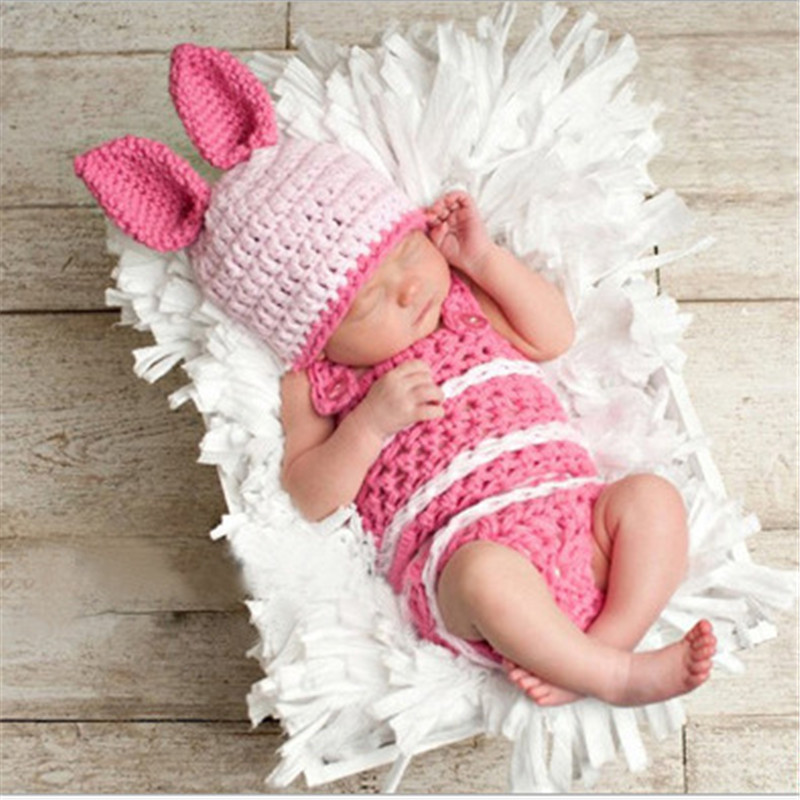 Newborn Baby Clothing Set Cute Knitted Clothing Set Rabbit Costume Crochet Photo Props Photography mttuzb newborn baby photography props infant knit crochet costume boys girls photo props children knitted hat pants set
