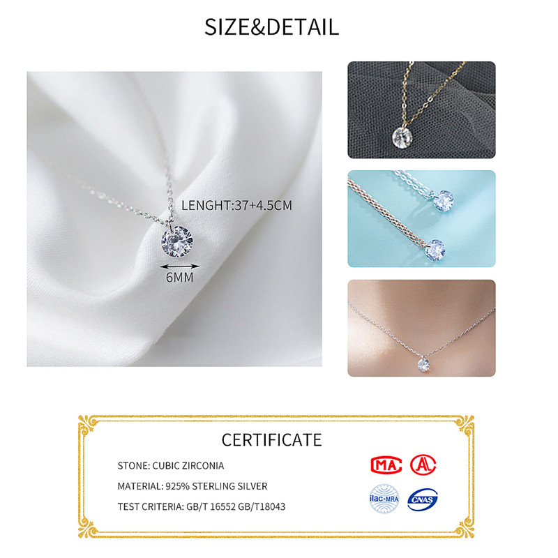 INZATT 2018 Real 925 Sterling Silver Pendant Necklace Round Crystal Fine Jewelry For Women Romantic Engagement